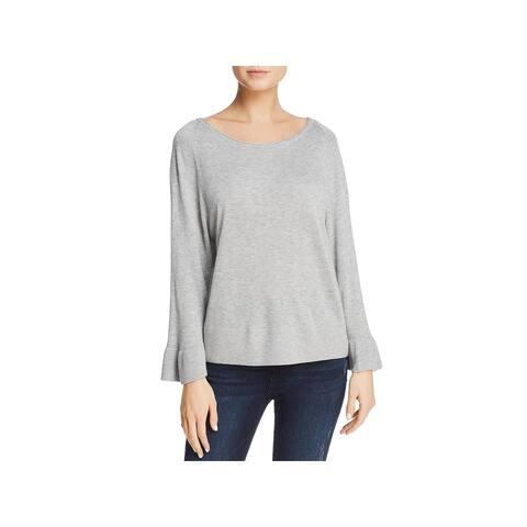 Splendid Womens Pullover Sweater Ruffle Hem Ribbed Trim