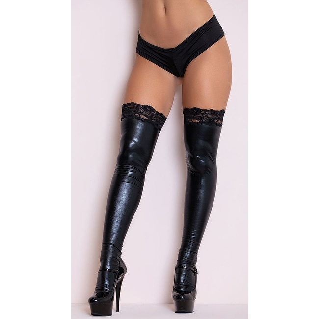 Shop Wet Look Thigh Highs with Lace Top