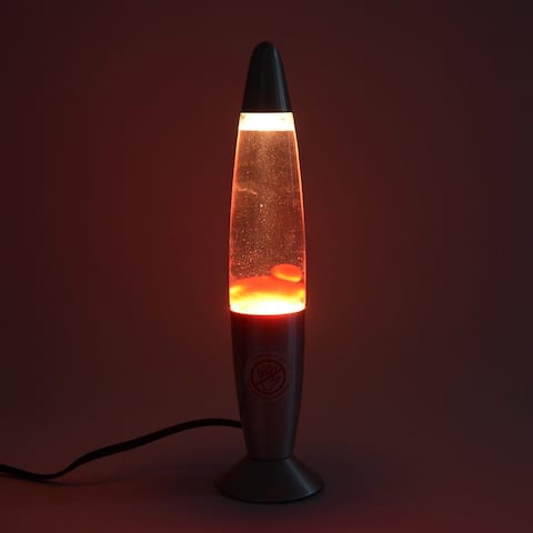 Home Office Decor Red Wax Lava Motion Desk Table Lamp Aluminium Base - 14 inches