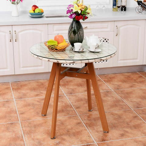 Costway Round Dining Table Steel Frame Tempered Glass Top Home Decor Kitchen Furniture - as pic