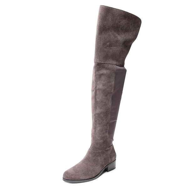 Charles By Charles David Giza Women Round Toe Suede Gray Over the Knee Boot