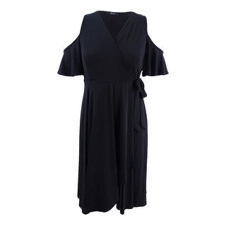 Soprano Women's Trendy Plus Size Off-The-Shoulder Midi Dress (2X, Black) - Black - 2x