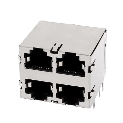 8P8C RJ45 Cat5e Ethernet Adapter Connector 4Port 2x2 Socket Shieled PCB Jack