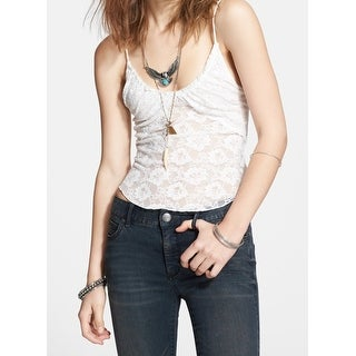 Free People NEW Ivory Womens Size XS Lace Illusion V-Neck Tank Top