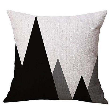 Geometric Style Pillow Covers 18 x 18 Inches (Black & Gray Mountain)