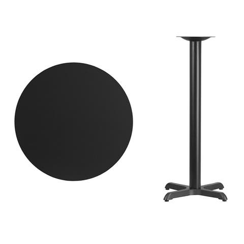 Offex 30'' Round Black Laminate Table Top with 22'' x 22'' Bar Height Table Base [OF-XU-RD-30-BLKTB-T2222B-GG]