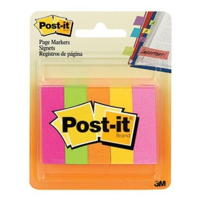 """Post-It 670-5AF Page Markers 0.5""""x1.75"""", Assorted"""