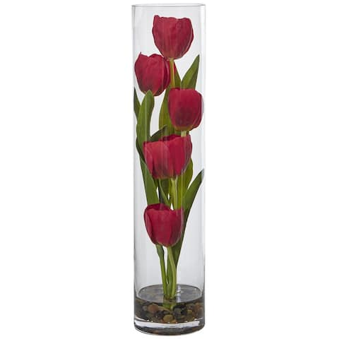 """Tulips in Cylinder Glass - 18"""""""
