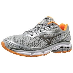 Mizuno Men's Wave Inspire 13 Running Shoe, Grey/Clownfish, 9 D US