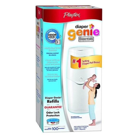 Playtex Diaper Genie Essentials Diaper Disposal Pail, White, 21x10x11 Inches - White