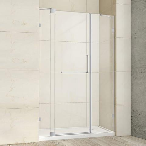 "Milano 48"" W x 72"" H Hinged Frameless Tub Door in Brushed Nickel - 48"" W x 72"" H"