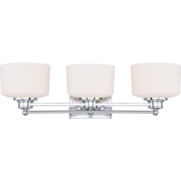 Nuvo Lighting 60/4583 Soho Three Light Bathroom Fixture with Satin White Glass - Polished chrome