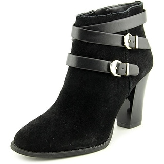 INC International Concepts Jaydie Women Round Toe Suede Black Ankle Boot