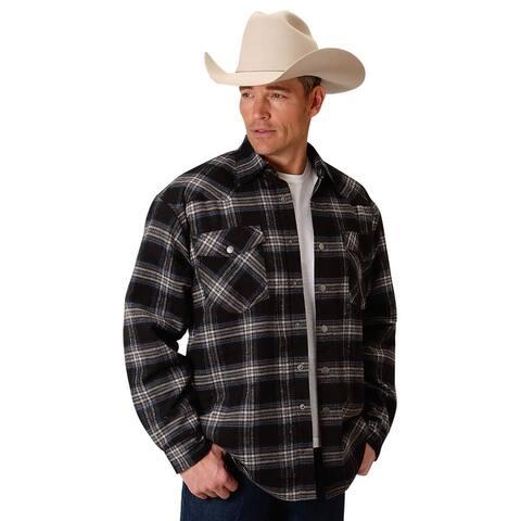 Roper Western Jacket Mens Flannel Plaid Black