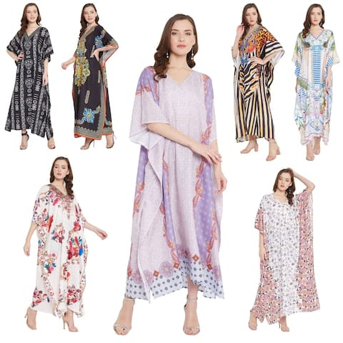 Oussum Womens Caftan Cover Up One Size Polyester Boho Beach Kaftan With Sleeve Maxi Gown