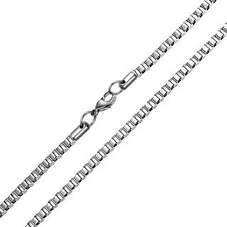 Bling Jewelry Stainless Steel 3mm Medium Mens Box Chain Necklace