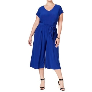 NY Collection Womens Plus Jumpsuit Stretch Belted
