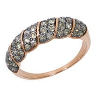 Prism Jewel 0.98 TCW Round Cut Natural Brown Color Diamond Wedding Band