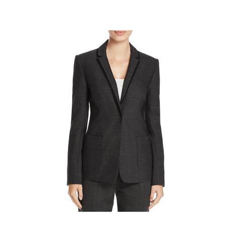 Elie Tahari Womens Wendy One-Button Blazer Velour Trim Notch Collar