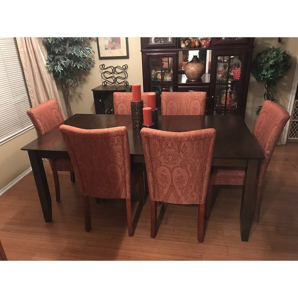 Shop Homepop Parsons Dining Chair Red And Gold Damask Free