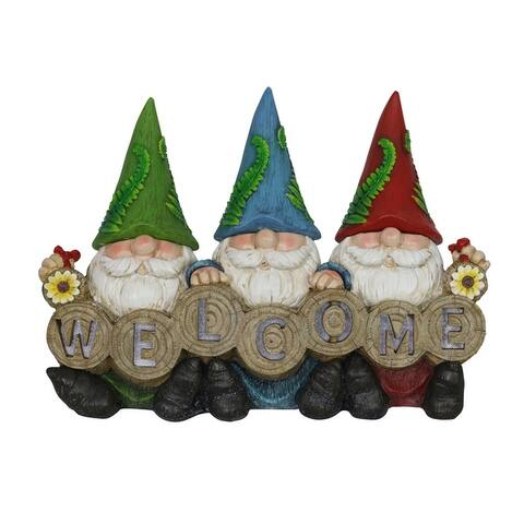 Exhart Solar Three Gnomes with Welcome Sign Garden Statuary, 13 by 9 Inches