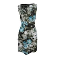 Connected Women's Palm-Print Tiered Sheath Dress - Teal