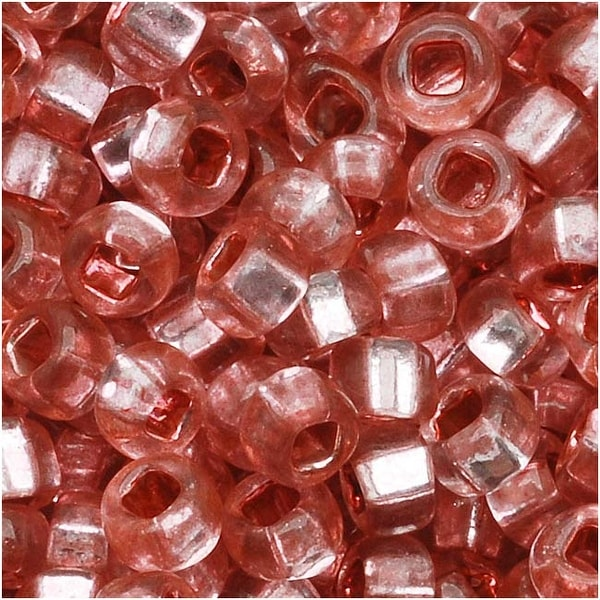 Czech Seed Beads 8/0 Silver Foil Lined Rose Pink (1 Ounce)