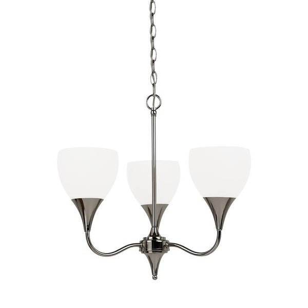 Sea Gull Lighting 31951-841 Solana Glass Chandelier Lighting 3-Light Nickel - nickel finish