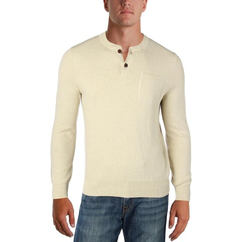 Tommy Hilfiger Mens Washington Henley Sweater Waffle Crewneck - S
