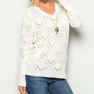 Ivory Open Knit V-Neck Sweater
