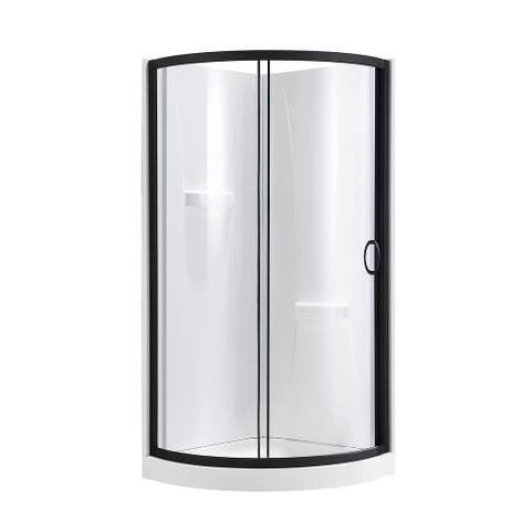 OVE Decors Breeze 32 in. Black Shower Kit with Clear Glass Panels, Walls and Base included