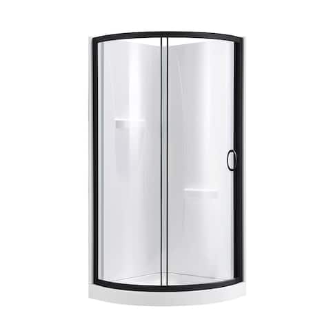 OVE Decors Breeze 34 in. Black Shower Kit with Clear Glass Panels, Walls and Base included