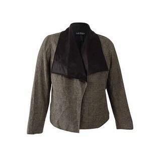 Lauren Ralph Lauren Women's Plus Size Glen Plaid Jacket (1X, Black/Cream) - Black/Cream