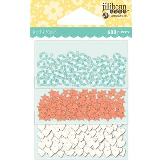 Jillibean Soup Shaker Card Sequin Pack-Watercolor W/Shapes, 200/Pkg