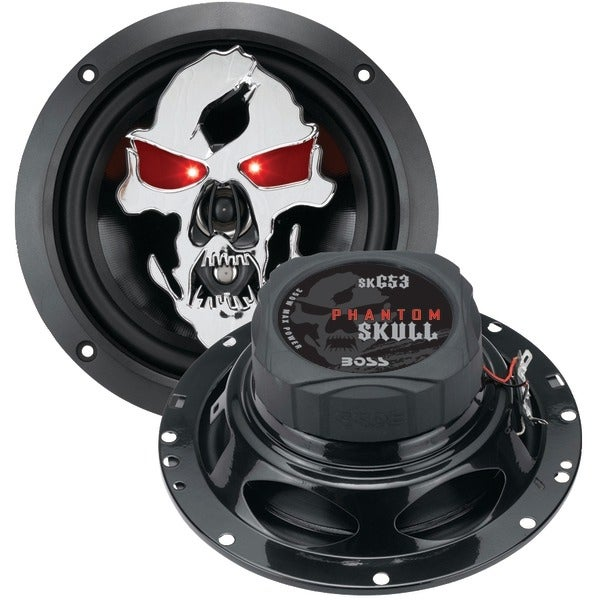 "BOSS AUDIO SK653 Phantom Skull Series 3-Way Black Injection Cone Speakers with Custom-Tooled Removable Skull Covers (6.5"")"
