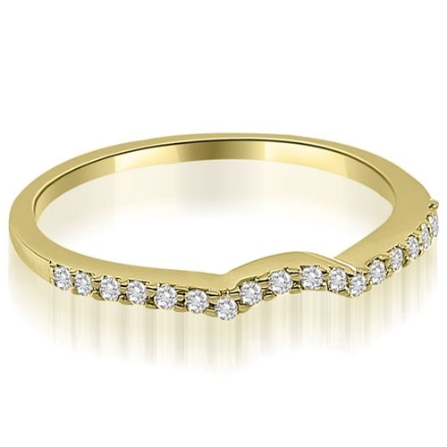 0.15 cttw. 14K Yellow Gold Petite Curved Round Cut Diamond Wedding Ring