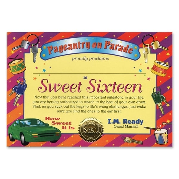 Pack of 6 ''Sweet Sixteen'' Certificates 5'' x 7'' - N/A