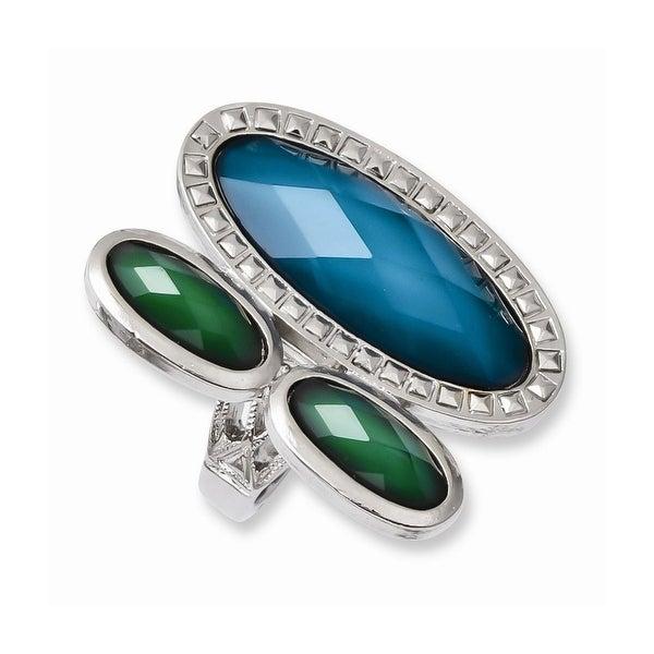 Silvertone Blue & Green Resin Stones Ring