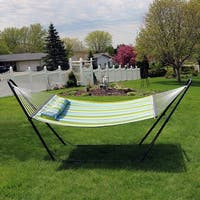 Sunnydaze Blue and Green Quilted Fabric 2-Person Hammock with Universal Stand