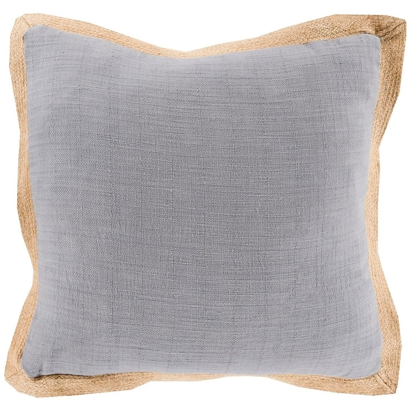 "18"" Simple Life Gray and Brown Decorative Throw Pillow with flange"