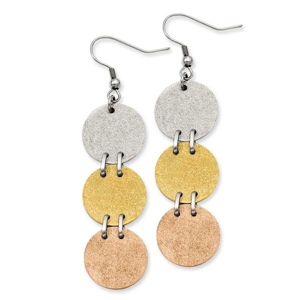 Stainless Steel Tri-Color Plated Discs Dangle Earrings