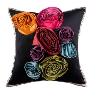 Handmade Eclectic Glam Boho Floral Decorative Velvet Throw Pillow Cover