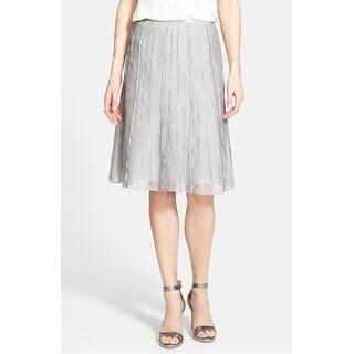Nic+Zoe NEW Gray Womens Size 10P Petite Textured Flutter A-Line Skirt