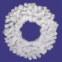 "24"" Pre-Lit Snow White Artificial Christmas Wreath - Clear Lights"