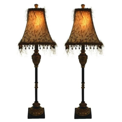 Aspire Home Accents 2335 Emelia Buffet Lamp (Set of 2) - Black / Gold