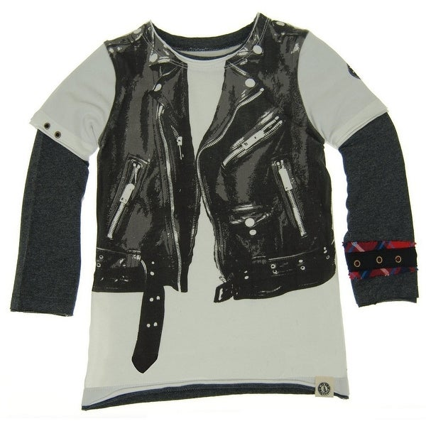 Mini Shatsu Baby Boys White Black Rock Leather Jacket Vest Twofer Shirt 12M