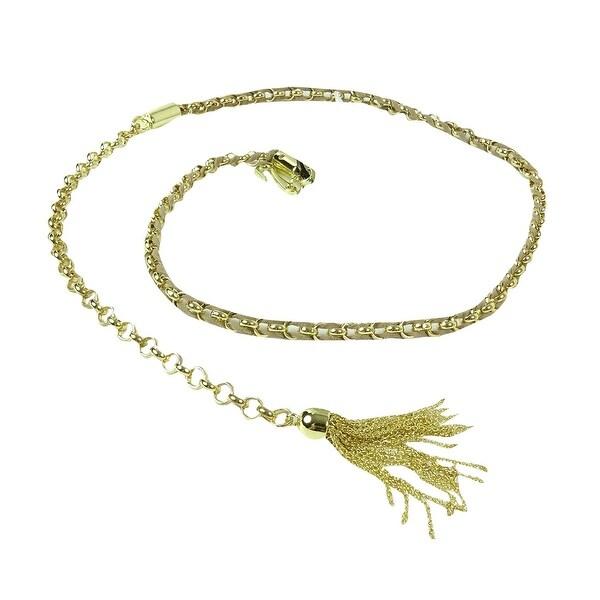Style & Co. Women's Suede Woven Linked Chain Tassel Belt