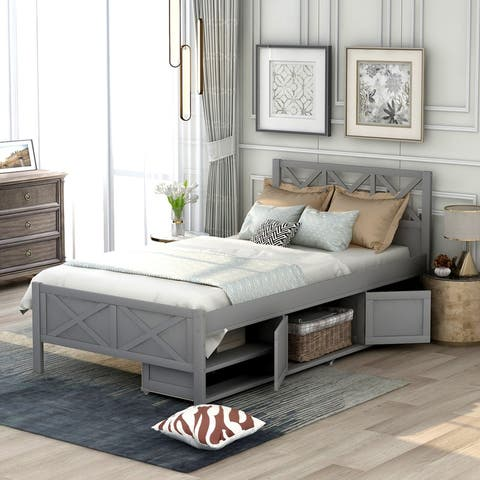 AOOLIVE Pine Wood Twin Size Platform Bed with Storage, Grey