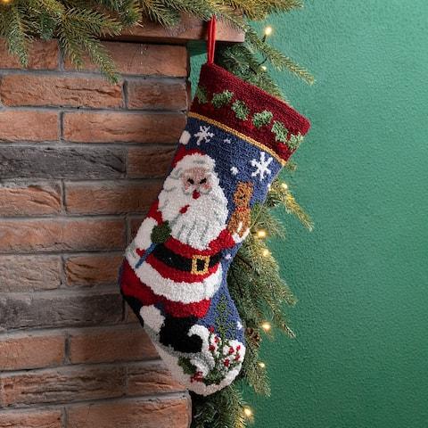 Glitzhome Hooked Christmas Stocking