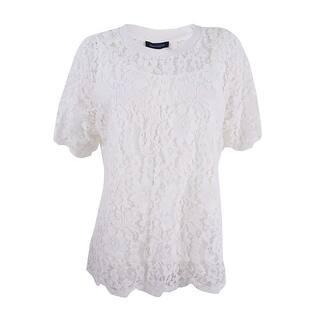 1bd25a79d4a Tommy Hilfiger Women s Plus Size Lace T-Shirt - Ivory
